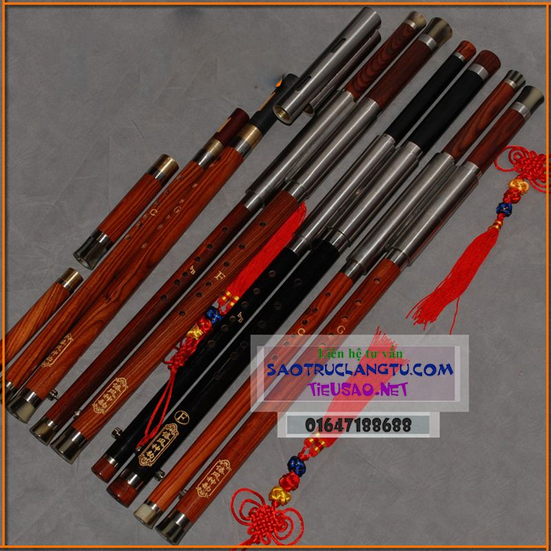 Sáo mèo kép gỗ Mun và gỗ Hồng Mộc MKT2